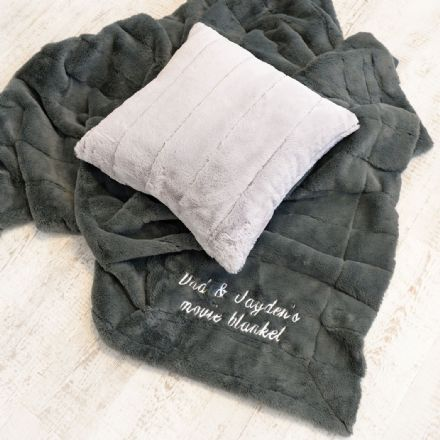 Personalised Luxury Large Super Soft Charcoal Blanket